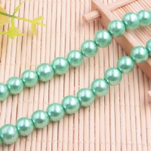 Beads, Glass Imitation pearls, Glass, Teal , Round shape, Diameter 10mm, 10 Beads, [FZZ0057]